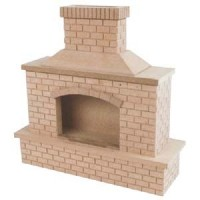 (*) Dollhouse Unfinished - Outdoor Brick Fireplace - Product Image