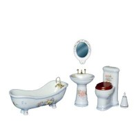 Dollhouse 5 pc Bathroom Set With Flowers - Product Image
