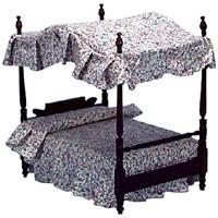Dollhouse Double Canopy Bed - Mahogany - Product Image