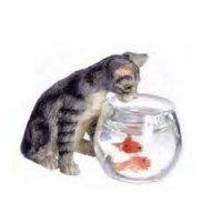 (*) Dollhouse Curious Cat With Fish Bowl - Product Image