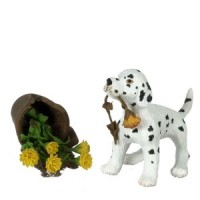 Dollhouse Dalmatian Puppy With Broken Pot - Product Image