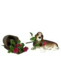 Dollhouse Basset Puppy With Broken Pot - Product Image