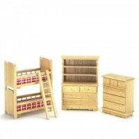 Dollhouse Oak BunkbedNursery Bedroom - Product Image