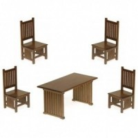 Dollhouse Walnut Mission Style Dining Room - Product Image