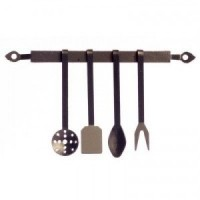 (*) Dollhouse 1700's Black Kitchen Utensil Set - Product Image