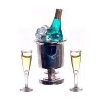 Champagne in Ice Bucket & Glasses - Product Image