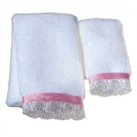 Sale $1 Off - 2 pc Towel Set - White & Pink - Product Image