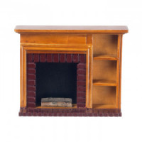 Walnut Dollhouse Fireplace with Shelving - Product Image